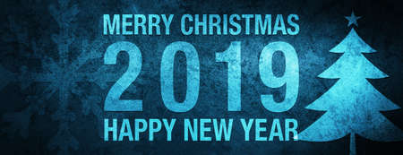 Merry Christmas 2019 Happy new year isolated on special blue banner background abstract illustration 版權商用圖片