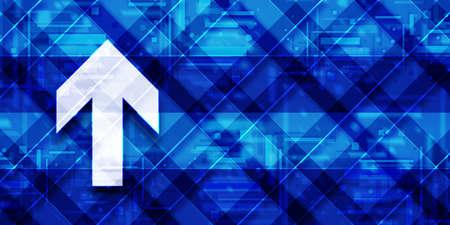 Upload arrow icon modern glassy blue banner background futuristic geometric design pattern illustration 版權商用圖片