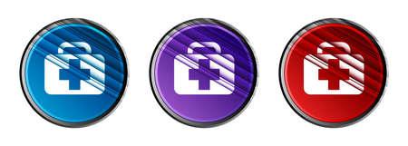 Medical bag icon natural sky light round button set motion stripes line pattern illustration 版權商用圖片