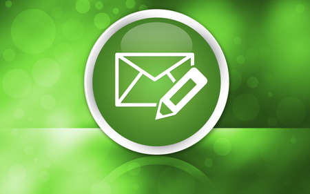 Edit email icon premium glossy reflected button isolated on abstract shiny green background illustration design