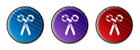 Scissors icon natural sky light round button set motion stripes line pattern illustration 版權商用圖片