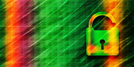 Unlock icon abstract premium green banner background colorful bright pattern texture illustration