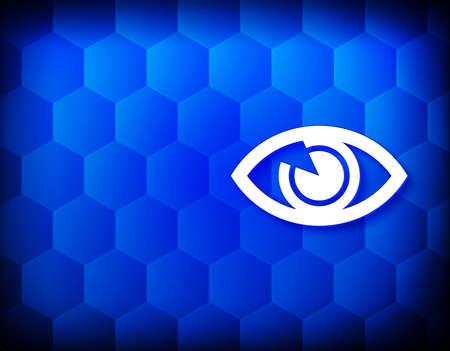 Eye icon hexagon creative abstract blue background seamless hexagonal pattern grid illustration design
