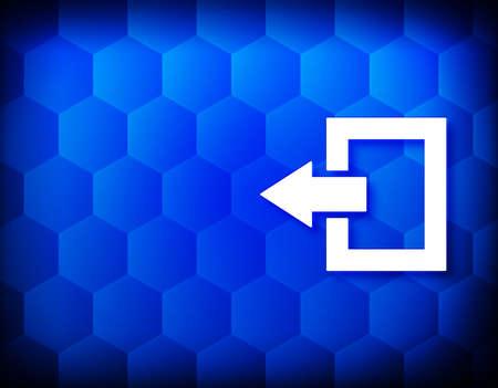 Logout icon hexagon creative abstract blue background seamless hexagonal pattern grid illustration design