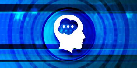 Brain head icon optimum prime digital smart blue banner background abstract geometric pattern futuristic motion illustration