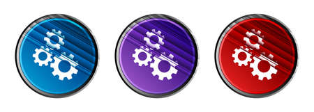 Gears icon natural sky light round button set motion stripes line pattern illustration