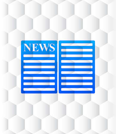 Newspaper icon hexagon seamless hexagonal pattern abstract white background illustration design