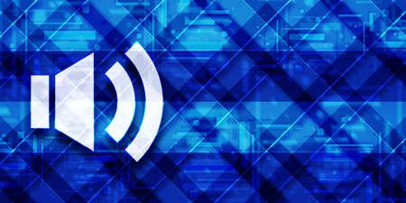 Volume icon modern glassy blue banner background futuristic geometric design pattern illustration