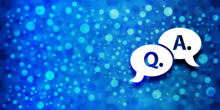 Question answer bubble icon special glossy bokeh blue banner background glitter pattern shine texture bright illustration