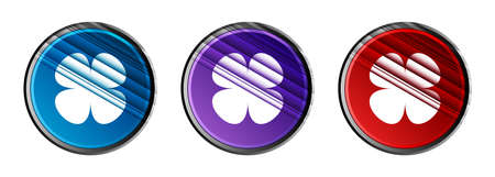 Flower leaf icon natural sky light round button set motion stripes line pattern illustration