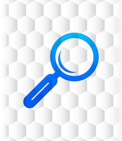 Magnifying glass icon hexagon seamless hexagonal pattern abstract white background illustration design