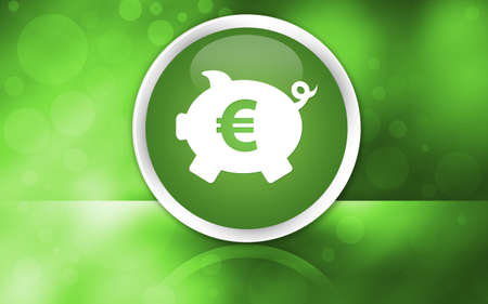 Piggy bank euro sign icon premium glossy reflected button isolated on abstract shiny green background illustration design 版權商用圖片