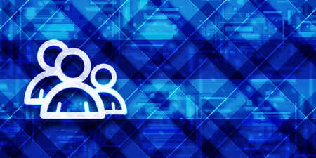 Group icon modern glassy blue banner background futuristic geometric design pattern illustration