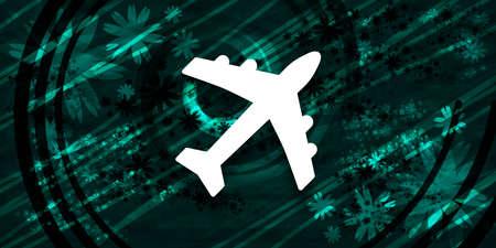 Plane icon floral emerald green banner background natural pattern fractal illustration design