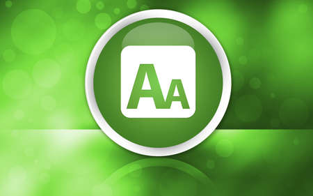 Font size box icon premium glossy reflected button isolated on abstract shiny green background illustration design