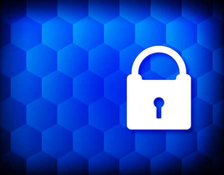 Padlock icon hexagon creative abstract blue background seamless hexagonal pattern grid illustration design