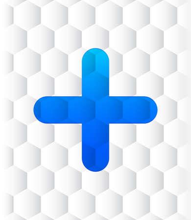 Plus icon hexagon seamless hexagonal pattern abstract white background illustration design