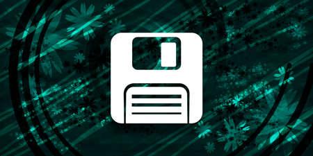 Floppy disk icon floral emerald green banner background natural pattern fractal illustration design 版權商用圖片