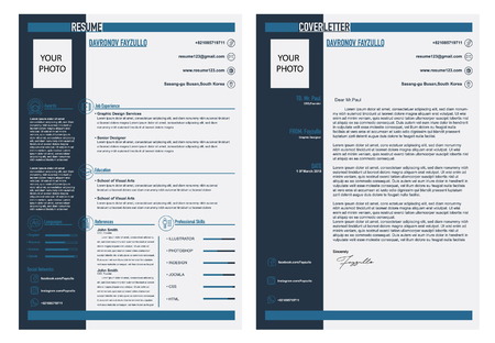 CV, resume and cover letter template Stock Illustratie