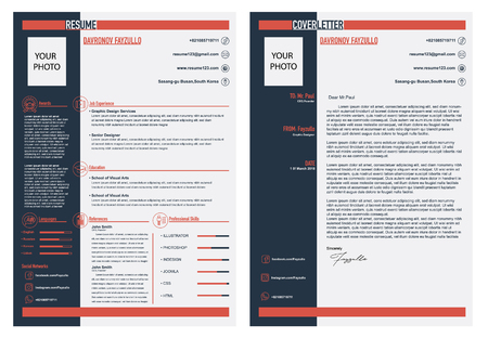 cv resume and cover letter template elegant stylish design