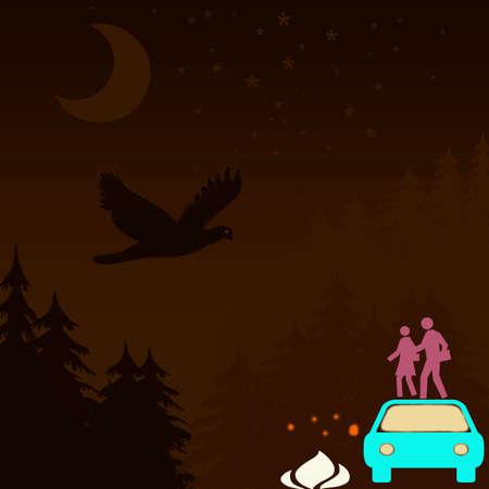 nocturne: sepia background, nocturne landscape, new-age scene Stock Photo