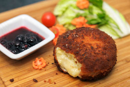 vegs: Baked Cheese with sweet sauce and vegs