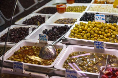 boqueria: Olive stand at the Boqueria market in Barcelona, Spain Stock Photo