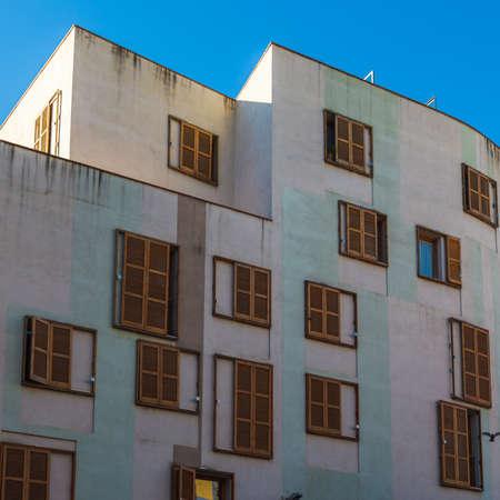 many windows: Many Windows on residential building, Barcelona, Spain Stock Photo