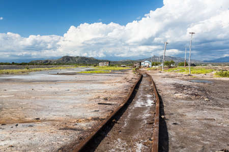 Railroad to the production of salt, Dominican Republic Stock Photo