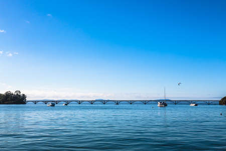 key of paradise: Long Foot-Bridge Over the Sea, Samana Peninsula, Dominican Republic Stock Photo