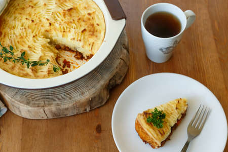 shepards: Shepards Pie With A Fork on a plate