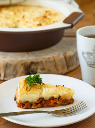 minced pie: Cottage Pie with minced meat, close view Stock Photo