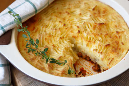 shepherds pie with missing piece, close view