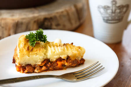 minced pie: Baked Irish pie with minced meat on a plate Stock Photo