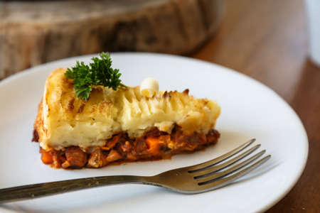 shepards: Baked Irish pie with minced meat on a plate Stock Photo