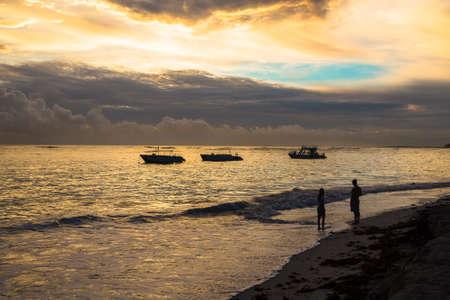 uprise: Colorful sunrise over Atlantic ocean. Dominican republic, Bavaro beach.