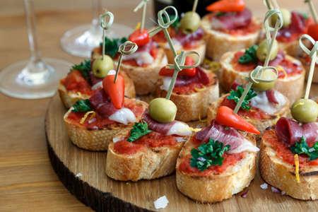 pintxos, tapas, spanish canapes party finger food Foto de archivo