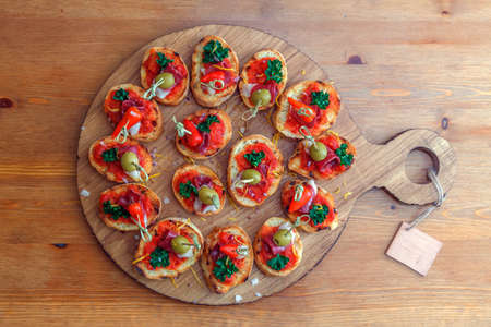 pintxos, tapas, spanish canapes party finger food Stock Photo
