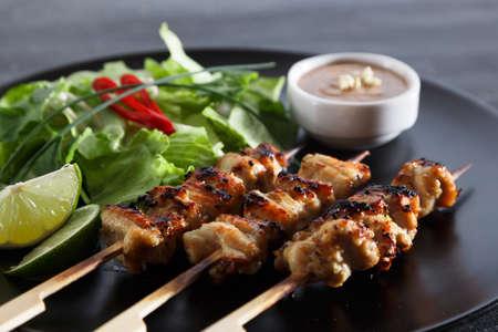 chicken satay: chicken satay popular asian dish, close view Stock Photo