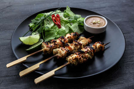 Satay is a Malaysian-style kebab. It is served on black plate with a peanut sauce, and slivers of cucumbers and onions. Dark photo. Stock Photo