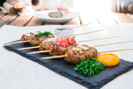 sake: Tsukune - Japanese grilled chicken meatballs on a plate