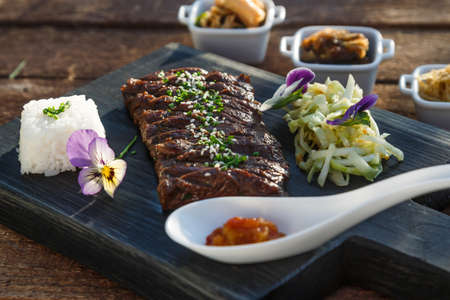Korean bbq beef with set of marinated vegetables