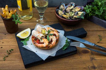 tapas españolas: Spanish Tapas with seafood: shrimps and squid.
