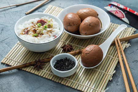 Tea eggs with rice porrige, chinese breakfast