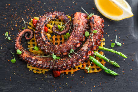 grilled Octopus appetizer with small potatoes, close view