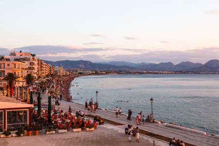 Aegean sea shore with city beach and many hotels, Loutraki, Greece