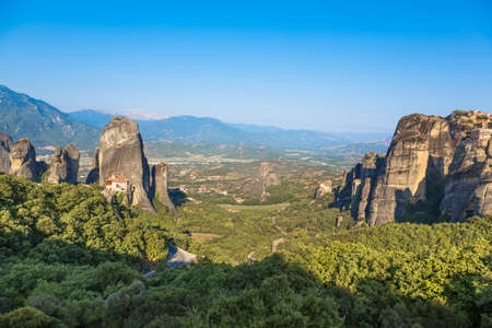 Meteora monasteries and valley view from top in Greece.