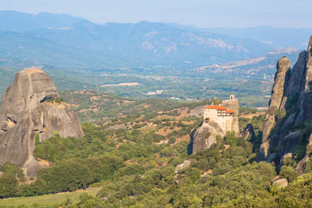 Meteora monasteries and valley view from top in Greece Banco de Imagens
