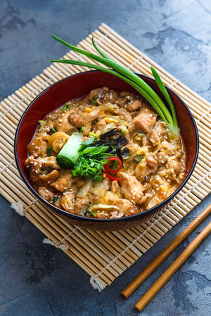 Oyakodon japanese chicken, egg on top of the rice bowl