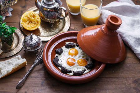 Close view of egg and beef, typical Moroccan breakfast